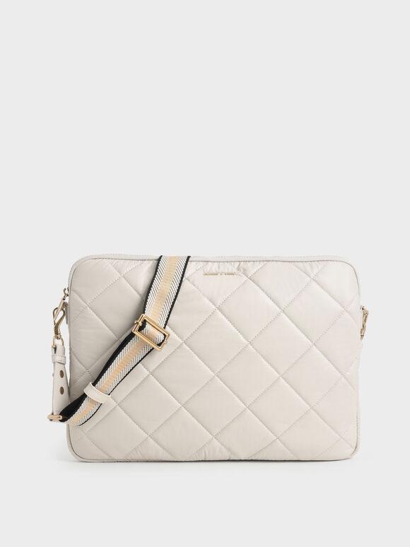 Quilted Laptop Bag, Ivory, hi-res