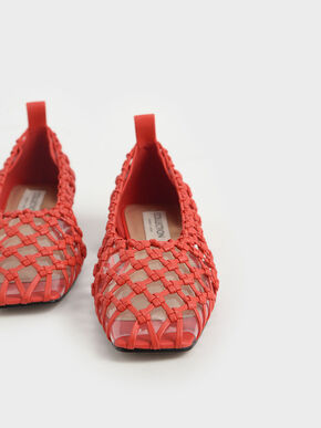Limited Edition: Woven Caged Ballerina Flats, Orange, hi-res