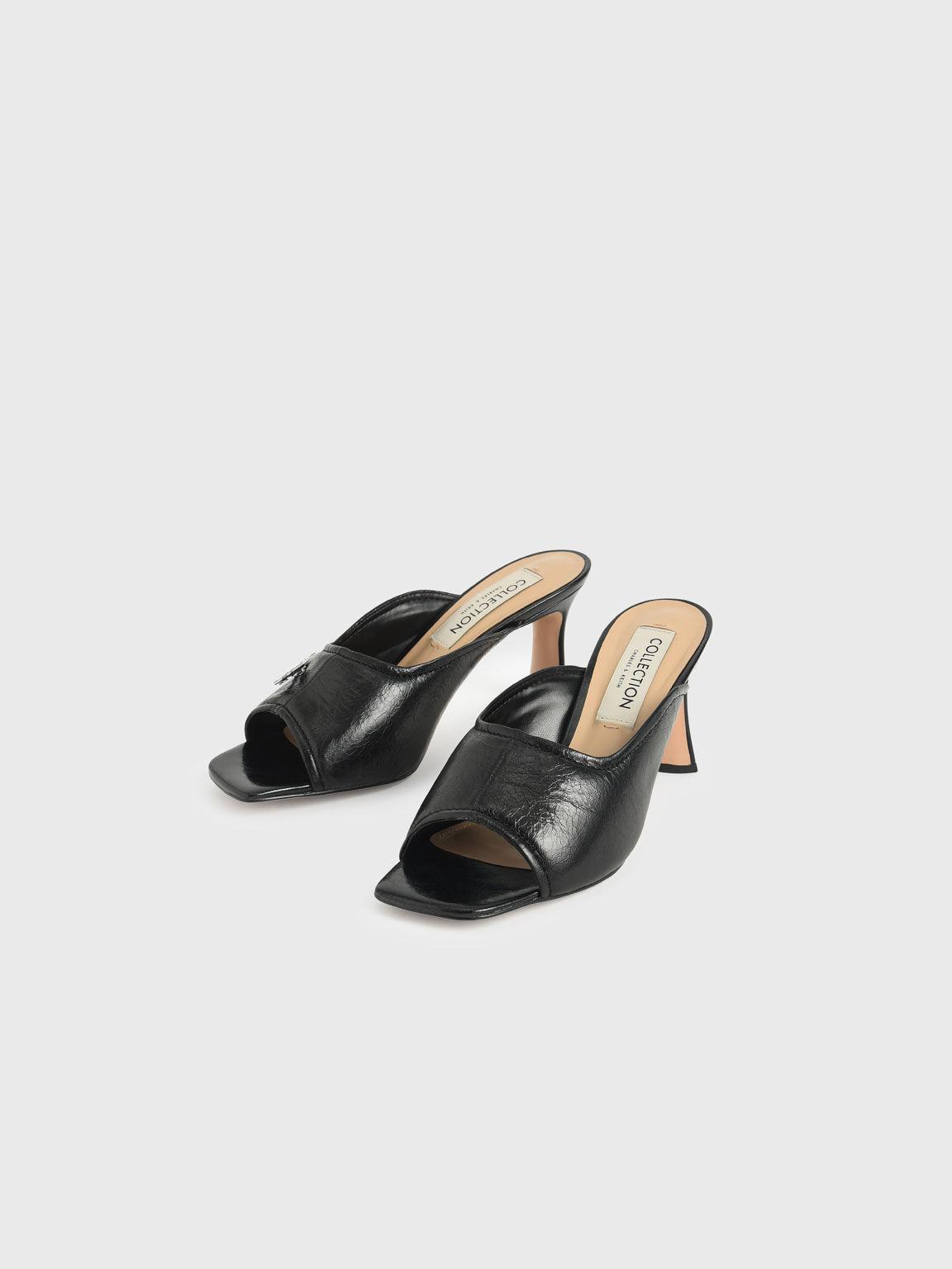 Gem-Embellished Leather Mules, Black, hi-res