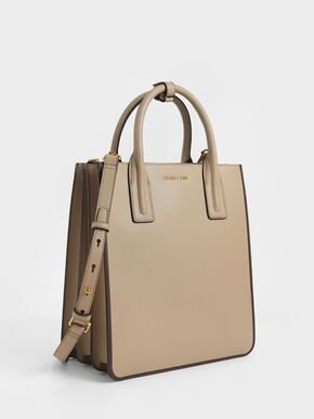 Double Handle Tote Bag, Taupe, hi-res