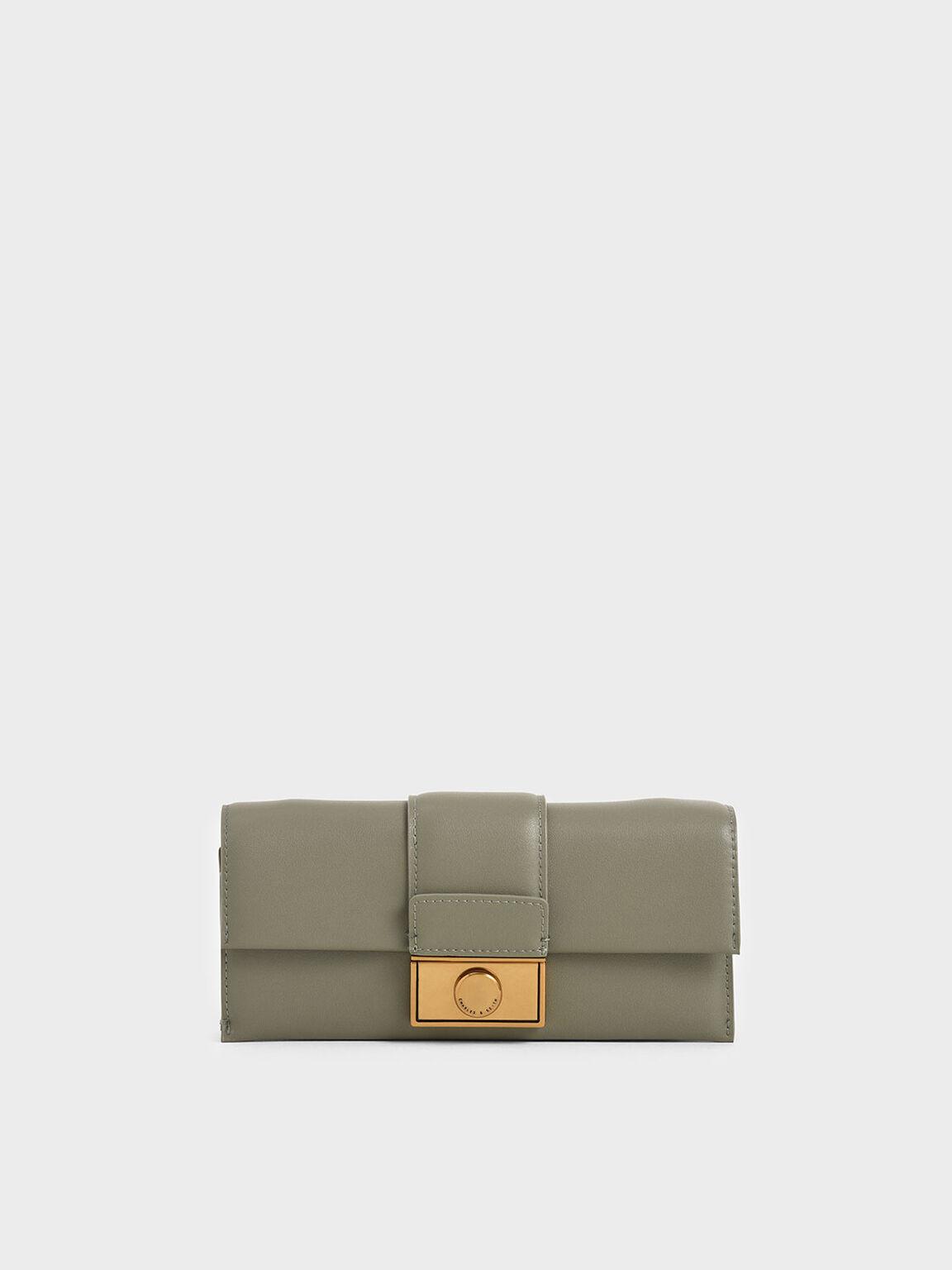 Push-Lock Long Wallet, Sage Green, hi-res