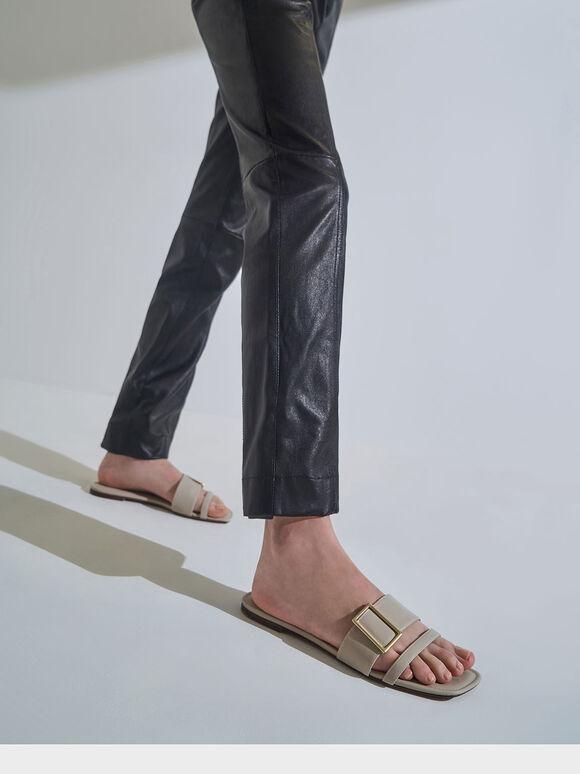Buckle Slide Sandals, Chalk, hi-res