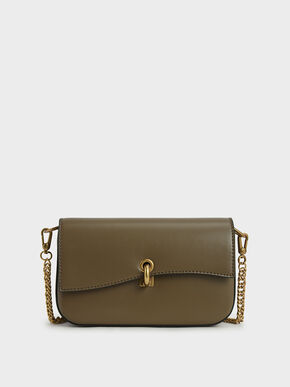 Turn-Lock Front Flap Bag, Khaki, hi-res