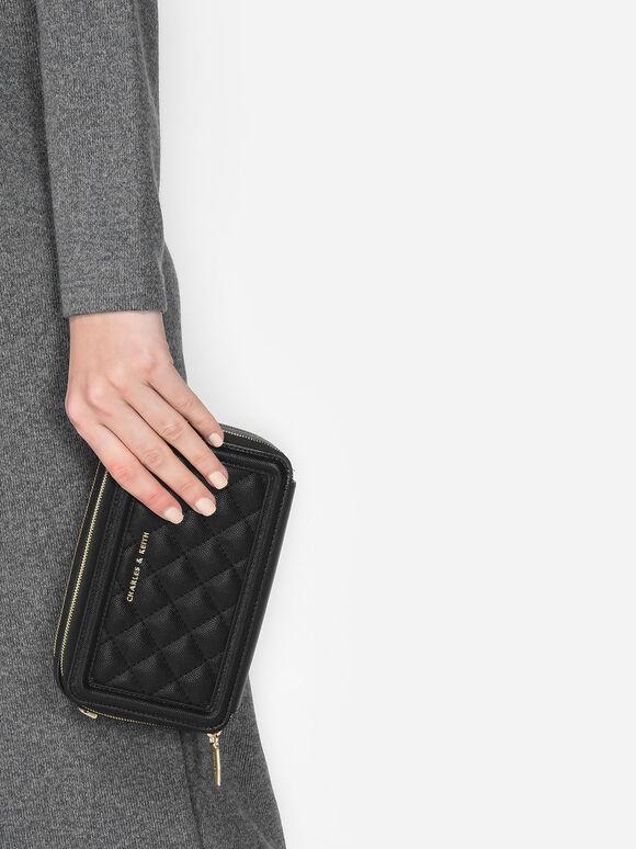 Quilted Zip Around Wallet, Black, hi-res