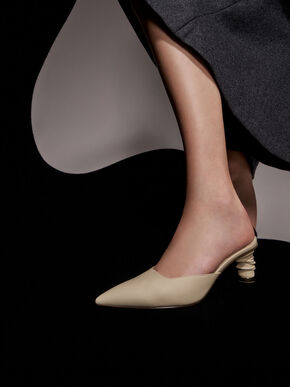 Ruched Cylindrical Heel Mules, Taupe, hi-res