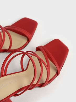 Strappy Chunky Heel Mules, Red, hi-res