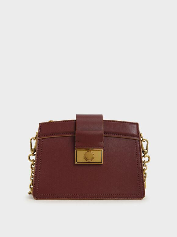 Metallic Push-Lock Shoulder Bag, Burgundy, hi-res