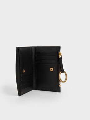 Ring Detail Card Holder, Black, hi-res