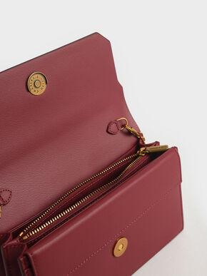Two-Tone Mini Long Wallet, Rose, hi-res