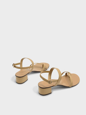 Crossover Toe Strap Sandals, Camel, hi-res