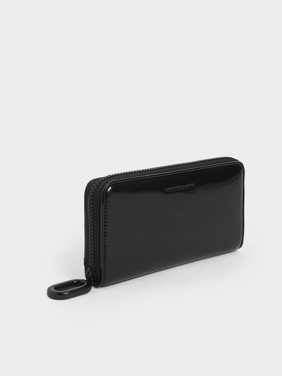 Patent Zip-Around Long Wallet, Black, hi-res