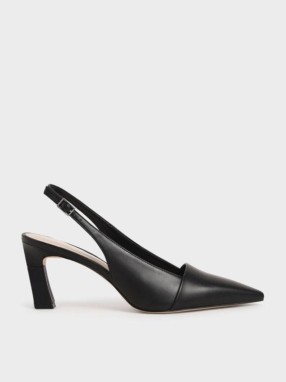 Sculptural Heel Slingback Pumps, Black, hi-res