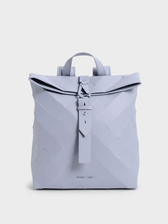 Large Geometric Backpack, Light Blue, hi-res