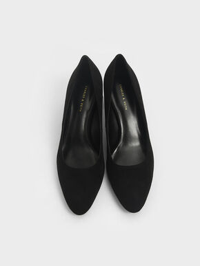 Textured Stacked Heel Pumps, Black, hi-res