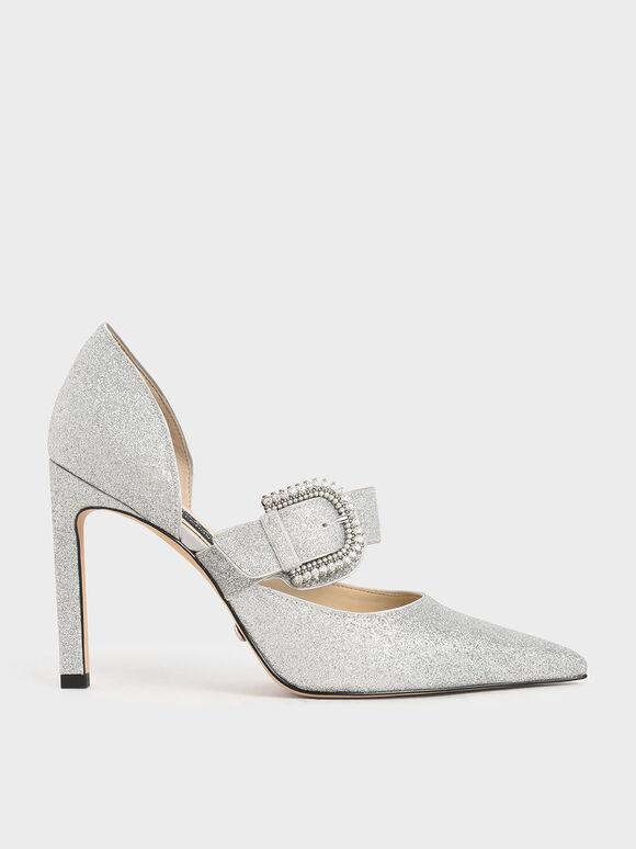 Wedding Collection: Glitter Embellished-Buckle Pumps, Silver, hi-res