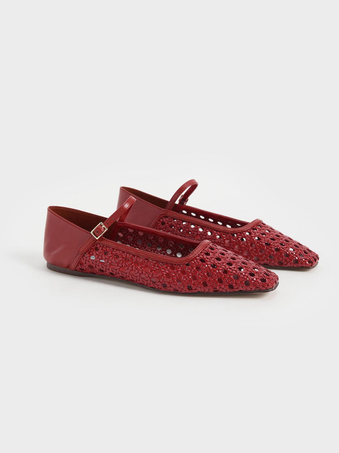 Weave Detail Ballerinas, Red, hi-res