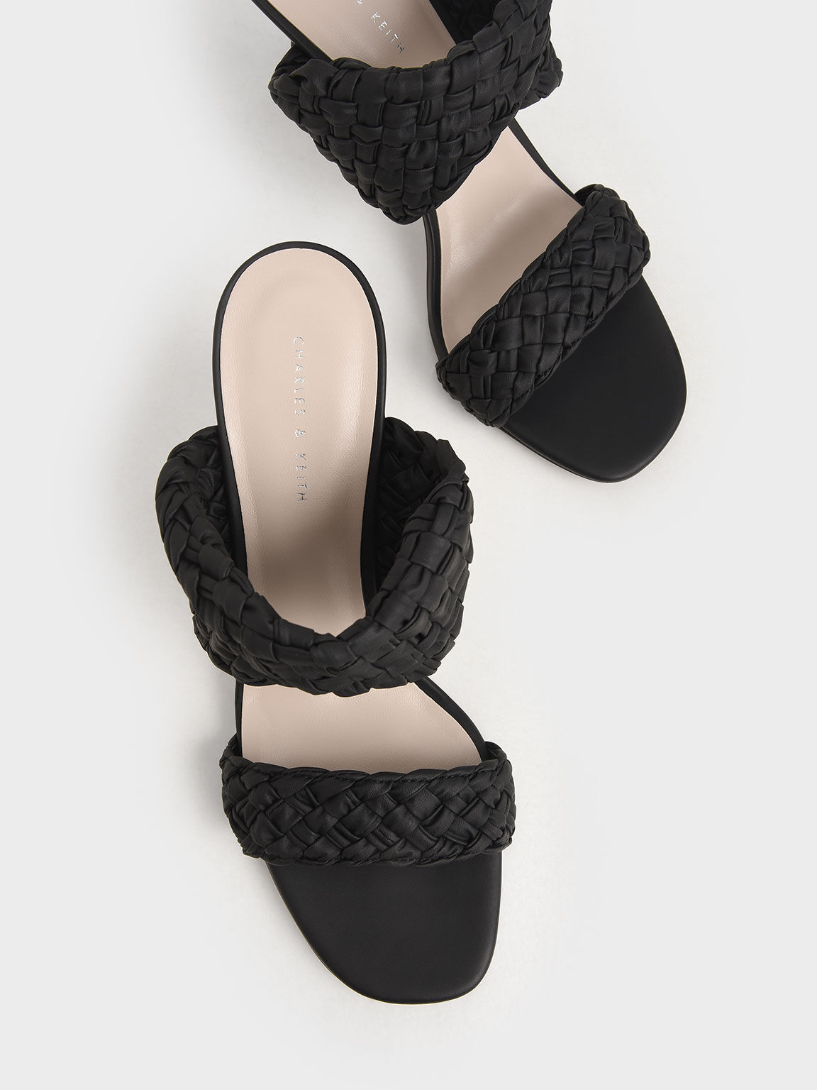 Double Strap Woven Heeled Mules, Black, hi-res