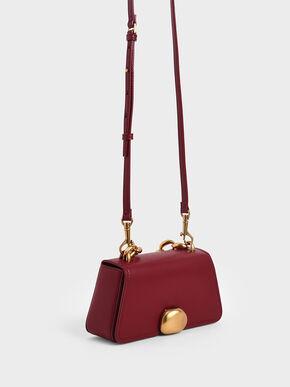 Metallic Chain Top Handle Bag, Red, hi-res