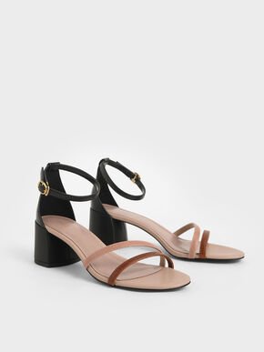 Snake Print Ankle Strap Sandals, Multi, hi-res
