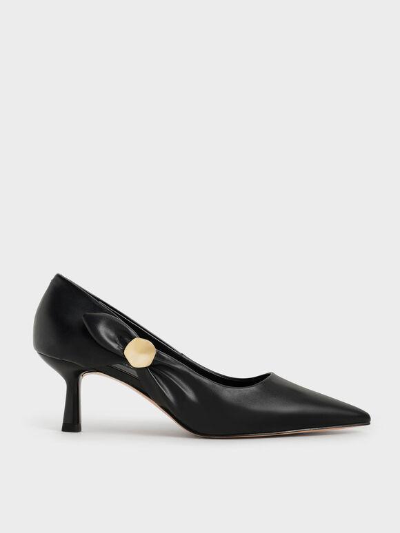 Embellished Pointed-Toe Pumps, Black, hi-res