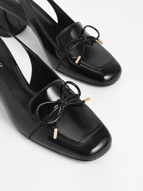 Patent Bow Slingback Pumps, Black, hi-res