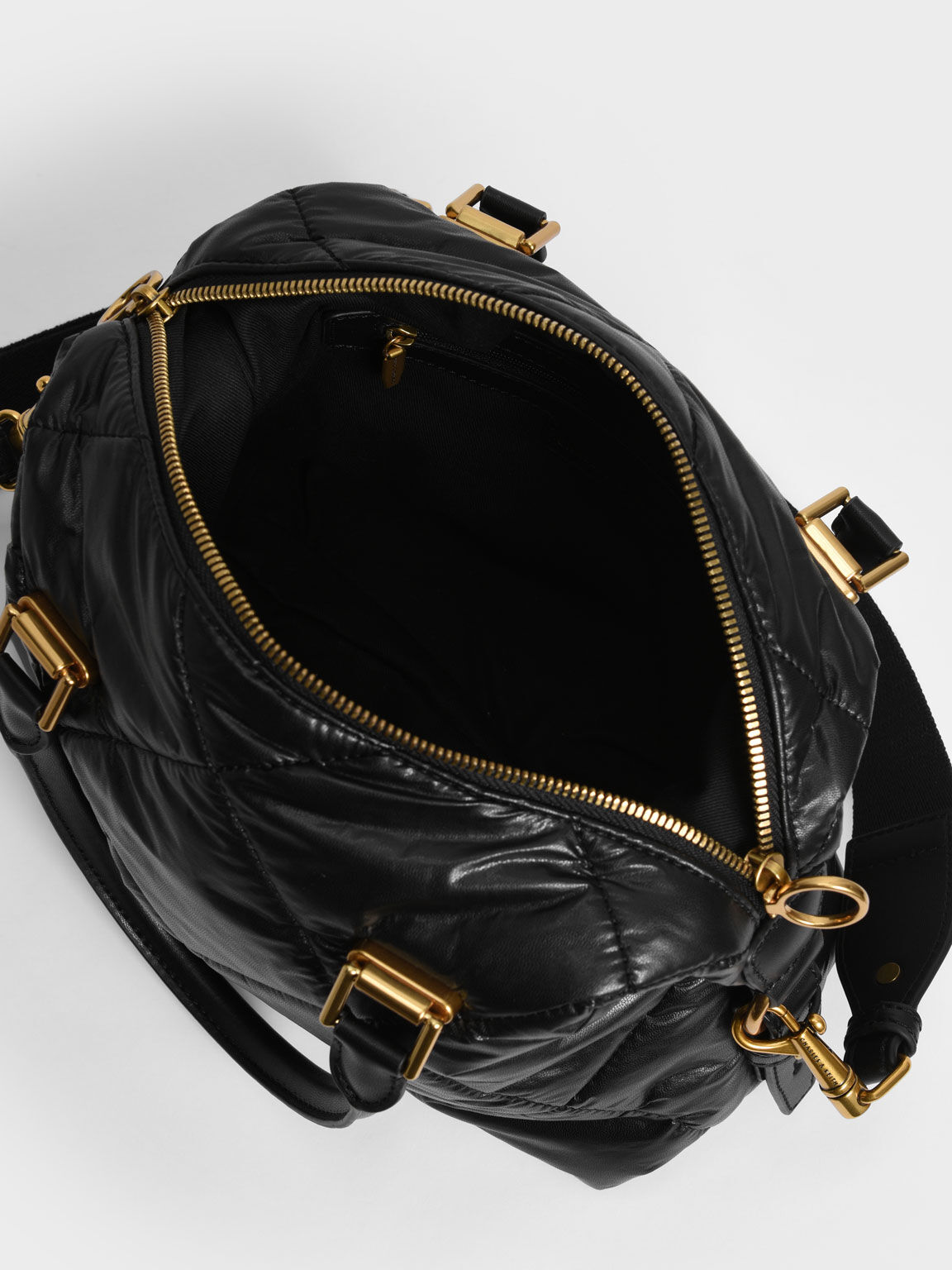 Puffy Quilted Tote Bag, Black, hi-res