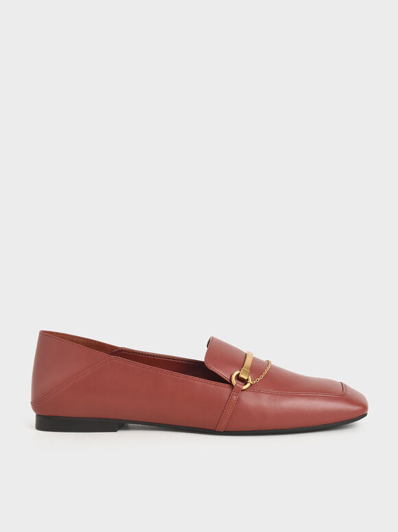 Metallic Accent Loafers, Red, hi-res