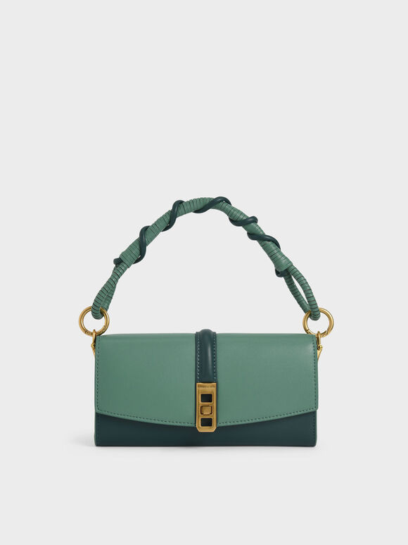 Coiled Top Handle Wallet, Green, hi-res