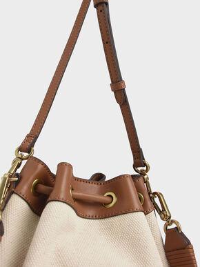 Canvas Drawstring Bucket Bag, Multi, hi-res
