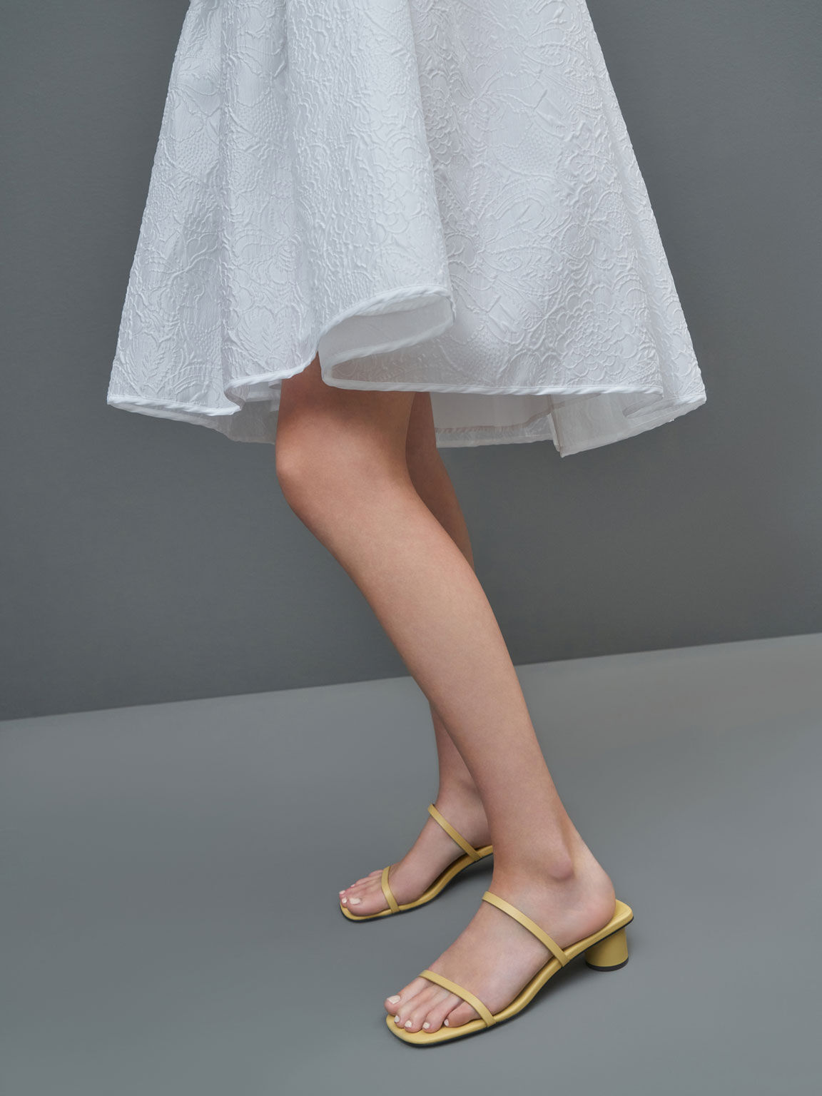 Double Strap Cylindrical Heel Mules, Yellow, hi-res