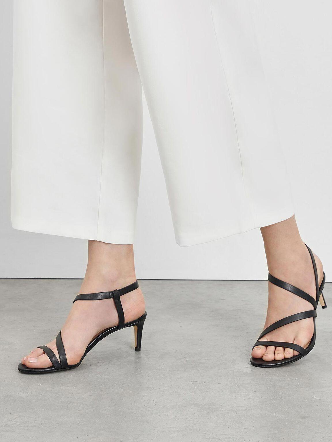 Open Toe Strappy Sandals, Black, hi-res