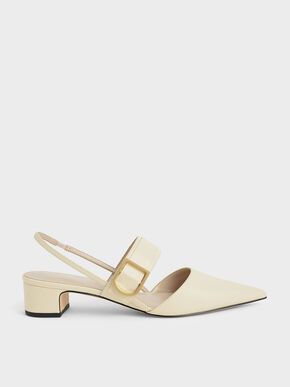 Buckle Slingback Pumps, Chalk, hi-res