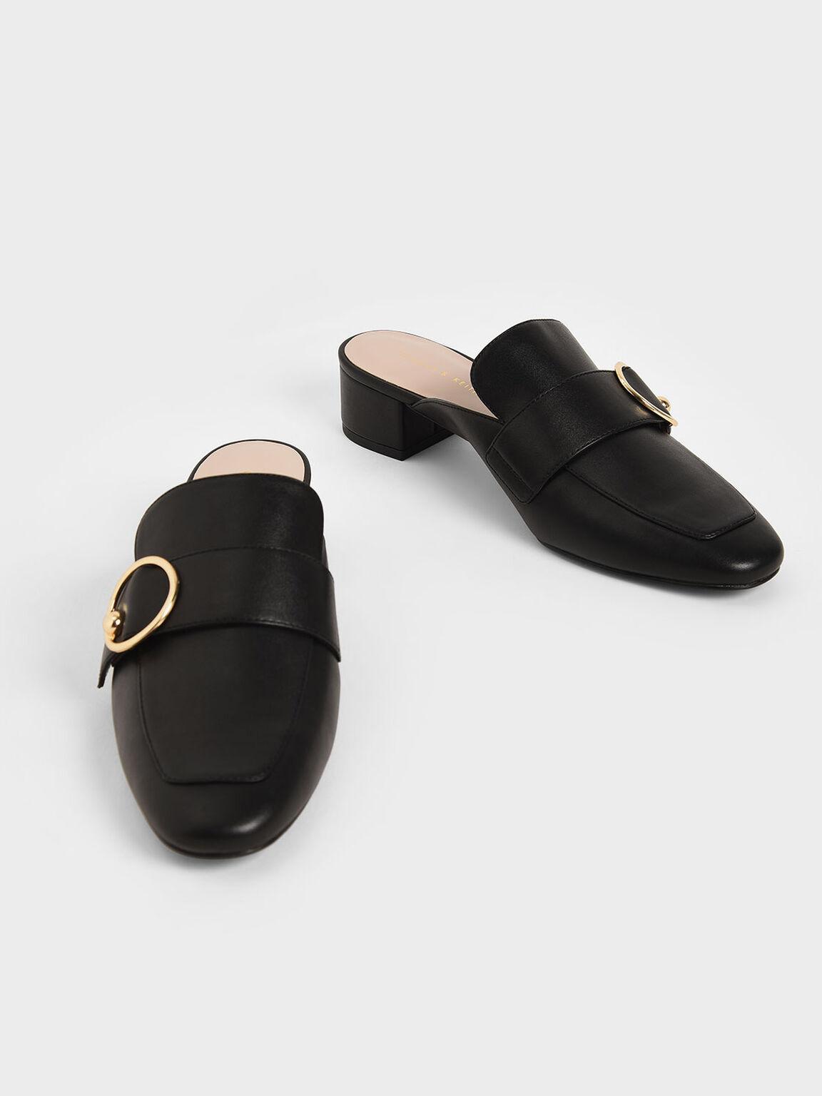 Ring Embellished Loafer Mules, Black, hi-res