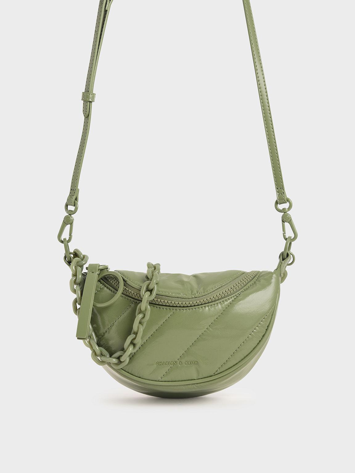 Patent Semi-Circle Crossbody Bag, Sage Green, hi-res
