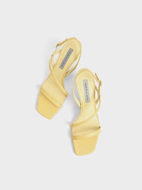 See-Through Sculptural Heel Sandals, Yellow, hi-res