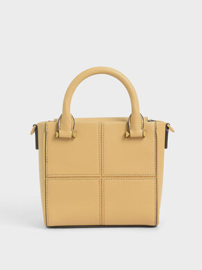 Textured Panelled Top Handle Bag, Yellow, hi-res