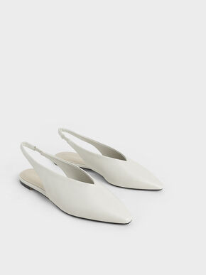 Pointed Toe Slingback Ballerinas, White, hi-res