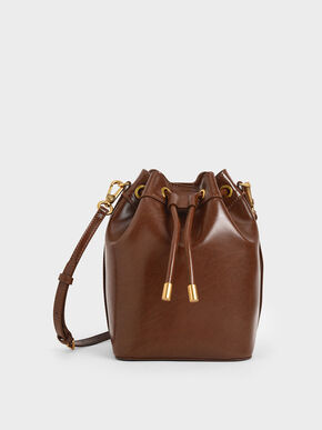 Drawstring Bucket Bag, Chocolate, hi-res