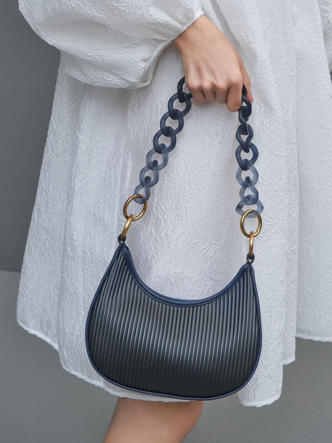 Acrylic Chain Handle Hobo Bag, Navy, hi-res