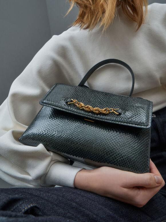 Snake Print Chain-Embellished Trapeze Top Handle Bag, Dark Green, hi-res