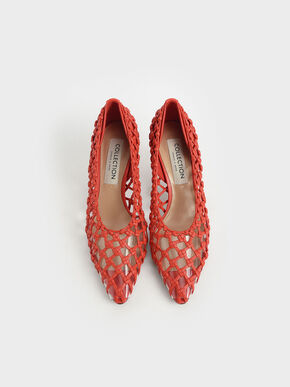 Limited Edition: Woven Caged Pumps, Orange, hi-res