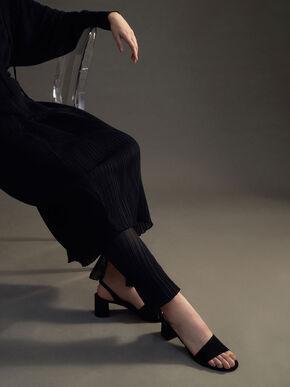 Textured Slingback Sandals, Black, hi-res