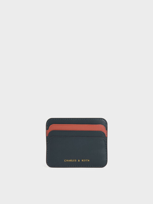 Two-Tone Multi-Slot Card Holder, Teal, hi-res