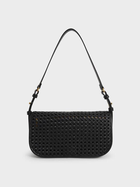 Woven Flap Shoulder Bag, Black, hi-res