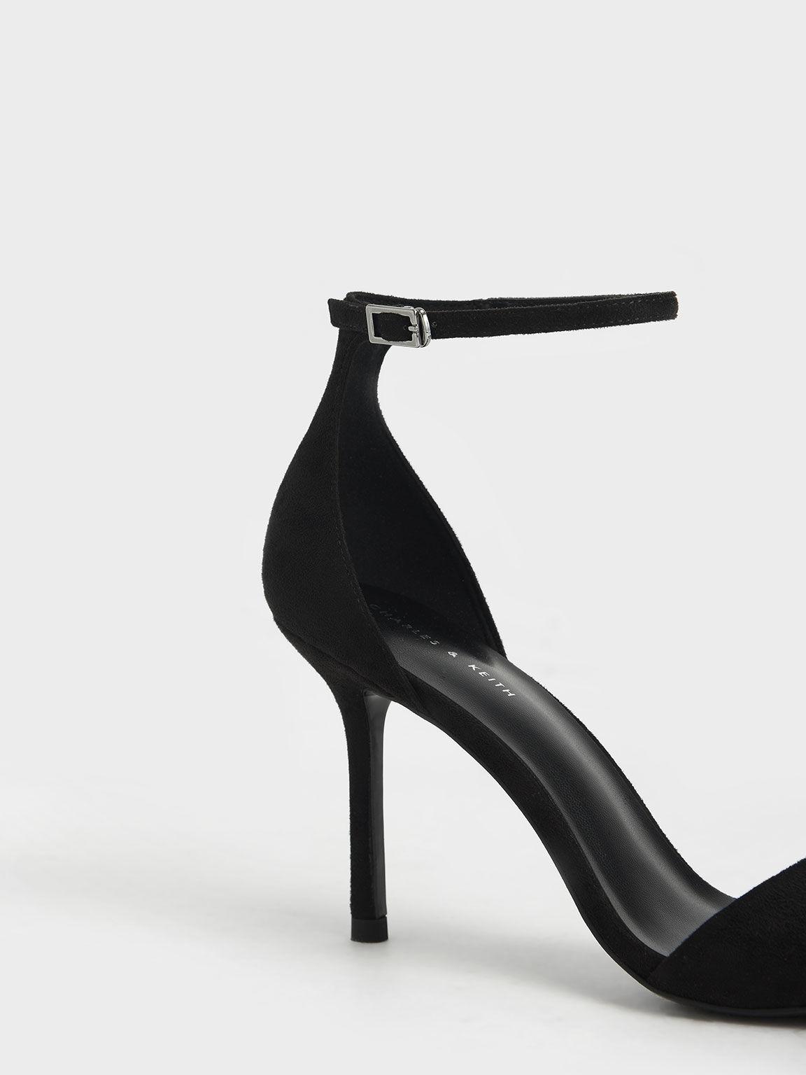 Textured Ankle Strap Heeled Sandals, Black, hi-res
