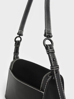 Canvas Turn-Lock Chain Handle Bag, Black, hi-res