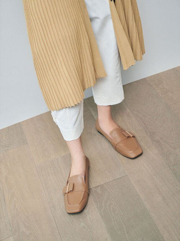 Metallic Accent Penny Loafers, Camel, hi-res