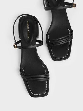 Open Square Toe Heeled Sandals, Black, hi-res