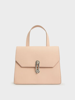 Metallic Accent Tote Bag, Nude, hi-res