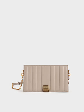 Panelled Metallic Push-Lock Wallet, Taupe, hi-res